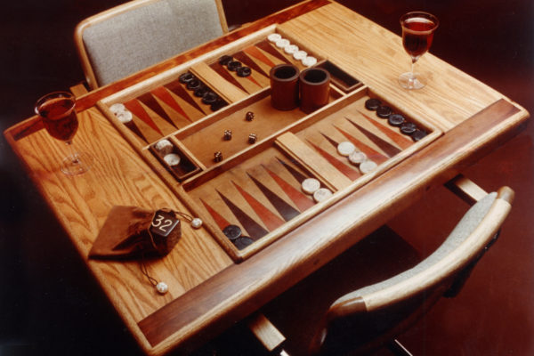 Wood and Leather Backgammon Table